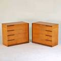 Gilbert rohde modernage attr bedroom set kingsized headboard two tall fourdrawer nightstands and pair of fourdrawer chests usa ca 1940s birdseye maple walnut unmarked chests 36 x 22