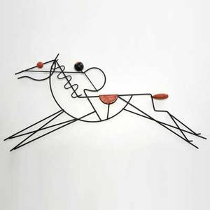 Frederick weinberg enameled wire wall sculpture of a horse and jockey usa 1950s unmarked 30 12 x 11