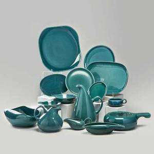 Russel wright steubenville one hundred and four piece dinnerware service in seafoam green glaze including dinner plates 17 salad plates 14 dessert plates 10 teacups 18 and saucers 15