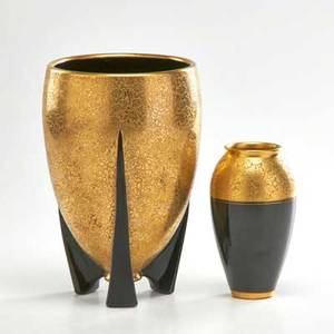 Pickard two vases czechoslovakia 1930s gilt porcelain one with paper label and stamped tk taller 9 x 5 34 dia