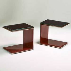 Contemporary pair of large cantilevered side tables usa 1990s rosewood patinated steel red enamel glass each unmarked 22 12 x 24 x 18