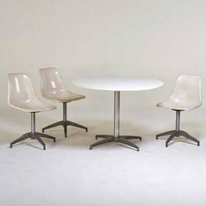 Style of charles and ray eames pedestal dining table and three side chairs 1960s laminate matte chromed steel aluminum fiberglass unmarked table 29 12 x 42 dia chair 31 x 18 12 x