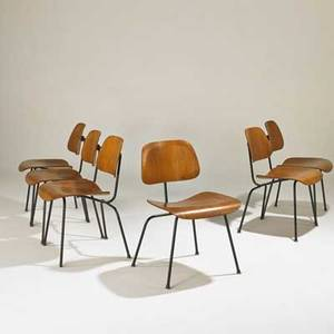 Charles and ray eames herman miller set of six dining chairs dcm usa 1950s walnut enameled steel rubber foil labels 29 12 x 19 12 x 21