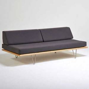Modernica vleg case study daybed ca 2000 birch plywood matte chromed steel upholstery unmarked 27 x 74 x 34