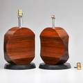 Modern lighting pair of rosewood discus lamps 20th c enameled wood and chromed metal unmarked 20 x 13