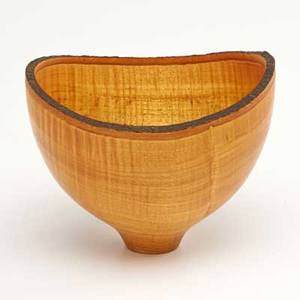 Dennis elliott turned wood bowl with natural edge 1992 signed and dated 5 34 x 7 14 dia before turning to wood crafting elliott was in the music business as a member of the rock band fore