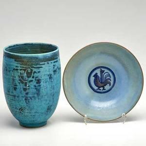 Edwin scheier mary scheier tall vase with figural decoration and early utilitarian rooster bowl green valley az glazed ceramic both signed scheier taller 8 14 x 5 34