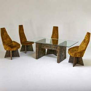 Adrian pearsall dining table and four chairs two arm two side usa 1970s bronzed composite glass crushed velvet unmarked table 29 12 x 72 x 40 chair 47 x 27 x 28