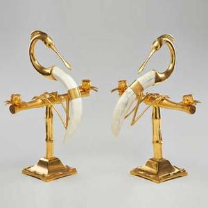 Style of gabriella crespi pair of heron candlesticks usa mid20th c gilt metal and faux horn both marked tiffany pariga detail of mark online each 17 14 x 14 12 x 9