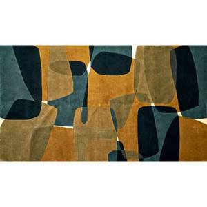 Designer contemporary wool area rug with abstract pattern in muted tones india unmarked 63 x 96