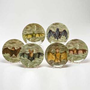 John derian set of six porcelain plates decorated with bats late 20th c artist signed 8 14