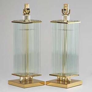 Gaetano sciolari pair of glass rod table lamps lucite and polished brass italy 20th c unmarked 22 x 7