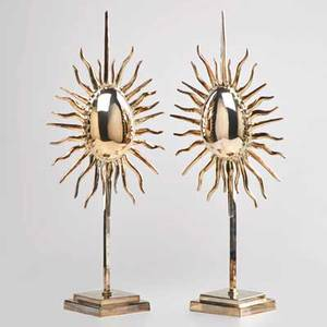 Italian pair of sculptural table lamps silverplated brass italy 2000s marked made in italy 24 x 12