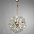 Italian three chandeliers spherical with glass flowers fourarm with cased glass floriform shades and tole with floral accents 1960s glass brass etc all unmarked spherical to ceiling cap