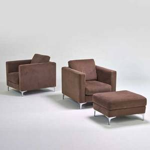 American leather inc pair of lounge chairs and ottoman usa 1990s microfiber chrome plated metal metal and upholstery manufacturer labels chairs 33 12 x 32 x 38 ottoman 16 12 x 30 x 24