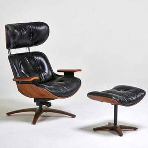 Plycraft lounge chair and ottoman usa 1960s walnut enameled and chromed steel leather upholstery label chair 40 x 32 x 31