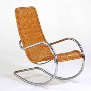 Style of mies van der rohe rocking chair usa 1960s wicker chromed steel unmarked 42 x 22 x 38