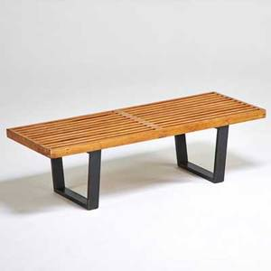 George nelson herman miller slat bench zeeland mi 1950s birch and ebonized wood unmarked 14 x 72 12 x 18 34
