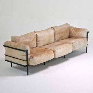 Style of le corbusier sofa usa 1980s enameled steel leather unmarked 25 12 x 94 x 33