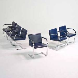 Brueton set of six brnostyle armchairs freeport ny 1980s chromed steel leather unmarked 30 x 23 12 x 23
