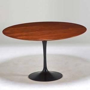 Eero saarinen knoll associates tulip dining table new york 1960s enameled steel walnut unmarked 28 x 48 dia