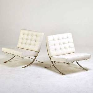 Style of mies van der rohe pair of barcelona lounge chairs ca 1960s chromed steel leather unmarked chair 31 12 x 32 x 30