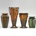 Roseville four pieces three rosecraft panel vases rosecraft hexagon vase zanesville oh 192024 all inkstamped tallest 11 12