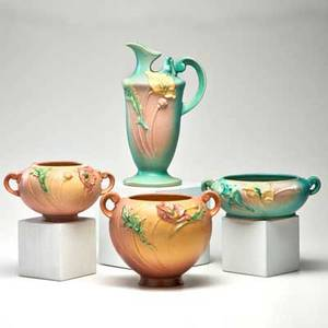 Roseville four poppy pieces small pink bulbous vase and large twohandled vase twohandled green bowl and ewer zanesville oh 1930s all marked tallest 10 14