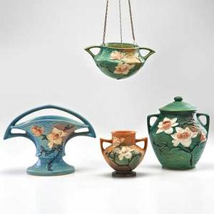 Roseville four magnolia pieces brown handled vase green cookie jar blue basket and green hanging basket with chain zanesville oh 1943 three marked tallest 10 12 x 9 dia