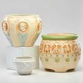 Roseville three pieces ivory cameo jardiniere cameo ii jardiniere and ivory ii small jardiniere zanesville oh ca 191537 one marked tallest 9