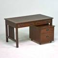 Stickley by e j audi contemporary twodrawer spindled desk in the style of gustav stickley with matching rolling twodrawer tabouret manlius ny 1990s quartersawn oak patinated metal branded