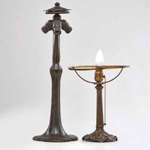 Handel etc patinated lamp base meridan ct early 20th c together with small decorated base both unmarked handel 23 x 8 dia