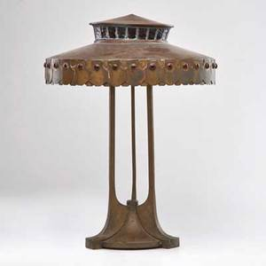 Secessionist copper table lamp with buttressed base and shade inset with cabochons and leaded glass austria early 20th c unmarked 22 x 15 dia