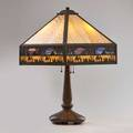 Arts and crafts table lamp with slag glass shade overlaid with egyptian scenes married to a patinated white metal base usa ca 1920s 27 x 16