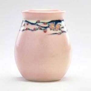 Edward t hurley rookwood small vellum vase decorated with cherry blossoms cincinnati oh 1924 flame markxxiv63artists cipher 4 12 x 3 12 dia