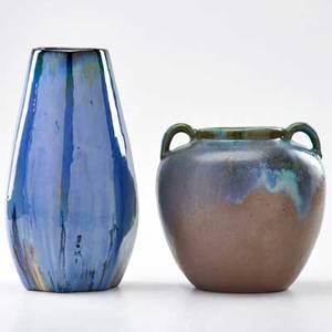Fulper tapering vase in chinese blue flambe glaze and twohandled urn flemington nj 191622 both marked taller 10