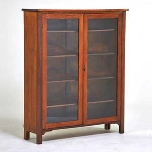 Stickley brothers two door bookcase grand rapids mi ca 1915 quartersawn oak glass patinated metal quaint metal tag 53 x 44 x 12 12