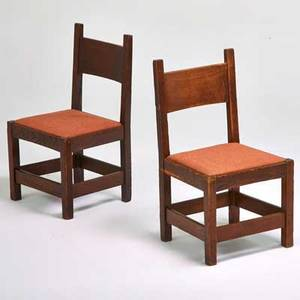 L  jg stickley pair of early onondaga shops chestnut side chairs with fabriccovered dropin seats fayetteville ny ca 1905 each 36 x 20 x 20