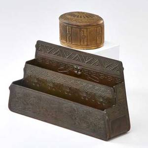 Tiffany studios aztec bronze letter holder and adams inkwell new york early 20th c both stamped tiffany studiosnew york taller 6