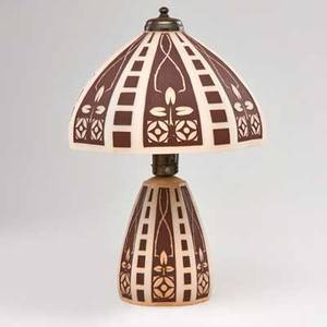 Arts and crafts enameled frosted glass table lamp with domed shade and conical illuminated base decorated with stylized roses early 20th c unmarked 19 x 13 dia