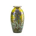 Loetz iridescent glass vase with sterling floral and leaf overlay austria early 20th c height 7