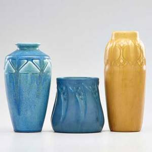 Rookwood three production vases two blue mat and one yellow mat cincinnati oh 192127 all marked tallest 8 14