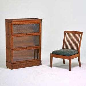 Arts and crafts threesection barrister bookcase and spindleback side chair usa ca 1920s quartersawn oak leaded glass leather unmarked bookcase 47 12 x 33 12 x 13 12 property from