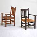 Gustav stickley etc armchair with vertical back slats together with similar arm chair ca 1910 quartersawn oak vinyl unmarked taller 38 12 x 26 x 25