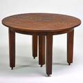 Gustav stickley fiveleg dining table with four leaves eastwood ny ca 1915 quartersawn oak remains of paster 30 x 48 dia leaves each 12