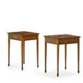 Pair of continental neoclassical side tables birch with rectangular top above one drawer square tapered legs 20th c 26 12 x 21 x 16 12