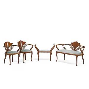 Austrian art nouveau parlor suite settee with a pair of open armchairs and bench early 20th c 31 x 48 12 x 25 12