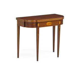 Federal style card table mahogany and birch with oval and bellflower inlays 20th c 28 34 x 34 x 16 12