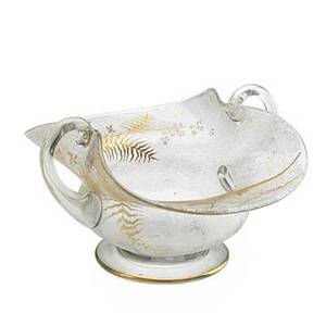 Glass centerpiece bowl crystal with gilded enamel bird and leaf decoration applied handles continental early 20th c 9 x 16