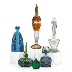 Art glass perfume bottles six bottles deco blue deco clear malachite with asian motifs loetz style bohemian style amber atomizer and blue with floral relief continental 20th c deco blue stam